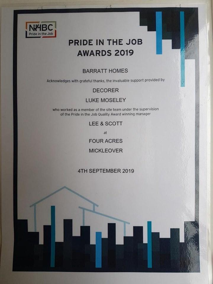 Luke Mosely Award certificate