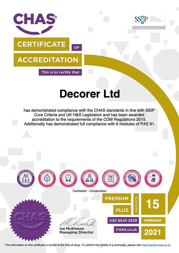 CHAS Premium Plus Certificate 2021